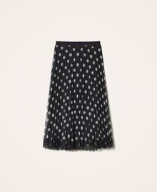 Pleated tulle skirt with lace Nude Beige Polka Dot Print Woman 202ST2065-0S