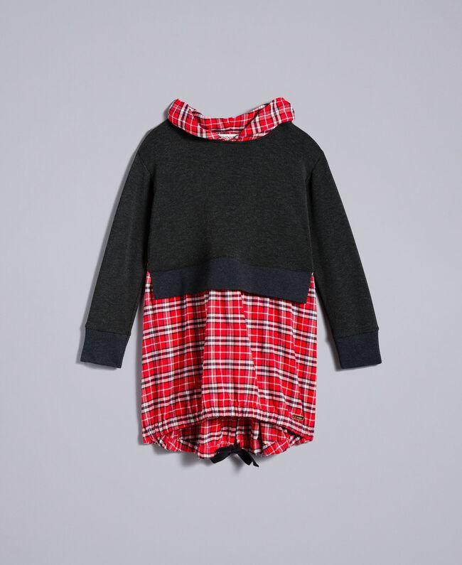 Robe en molleton et tissu à carreaux Bicolore Gris Chiné / Rouge Carreaux Coquelicot Enfant GA8243-01