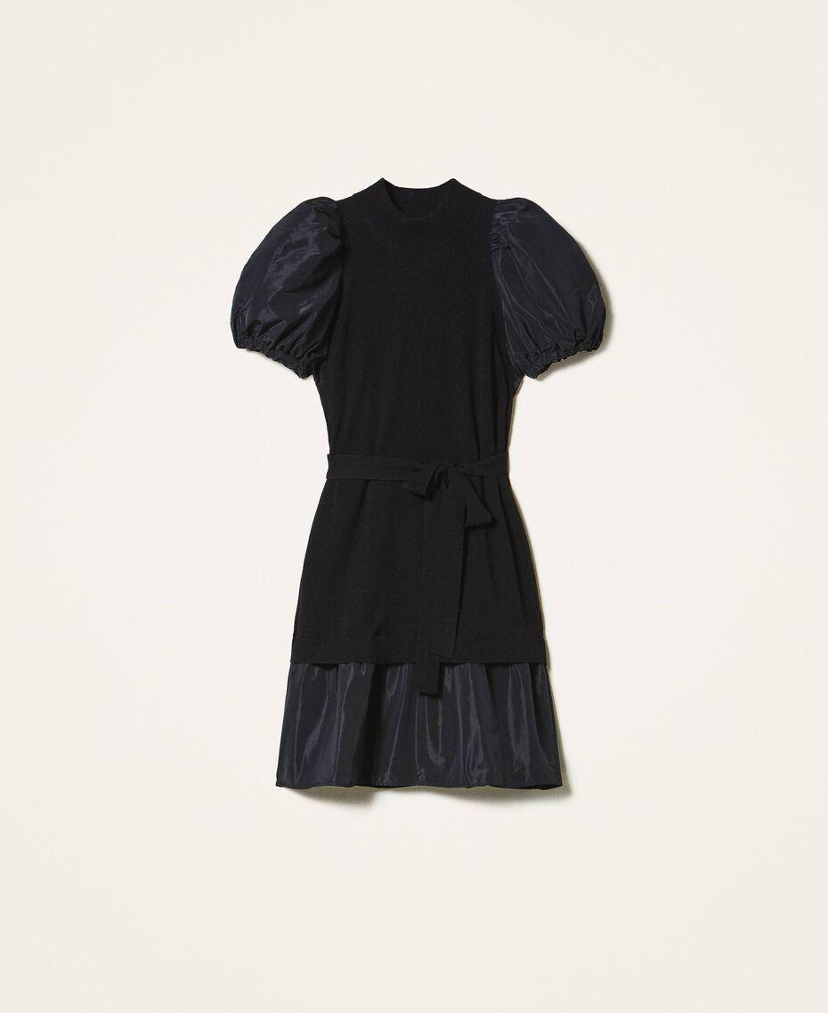 Kleid aus Wollmischung und Taft Schwarz Frau 202TP3251-0S