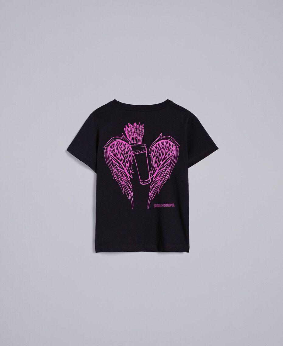 T-shirt unisexe junior en coton avec imprimé Noir Enfant QA8TMP-10