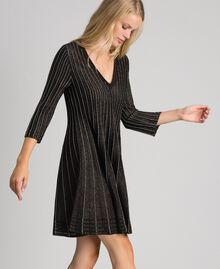 Pleated lurex knit dress Lurex Black Woman 192TP3302-04