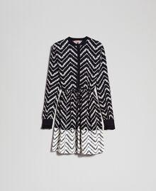 """Chevron floral print shirt dress Black / """"Snow"""" Chevron Print Woman 192TP2523-0S"""