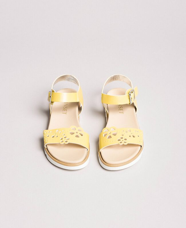 """Leather sandals with embroidery """"Bamboo"""" Yellow Child 191GCJ170-04"""