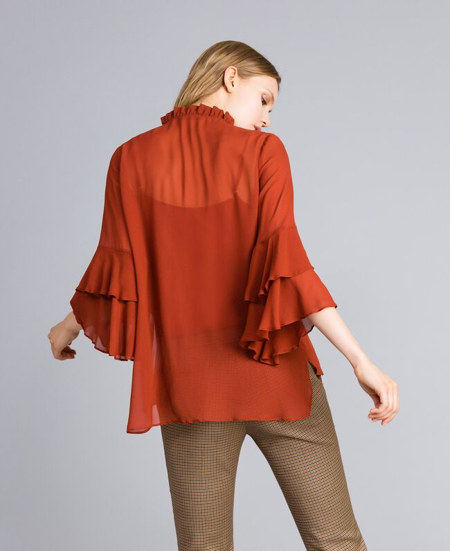 Georgette shirt with ruches Reddish Brown Woman TA828A-03