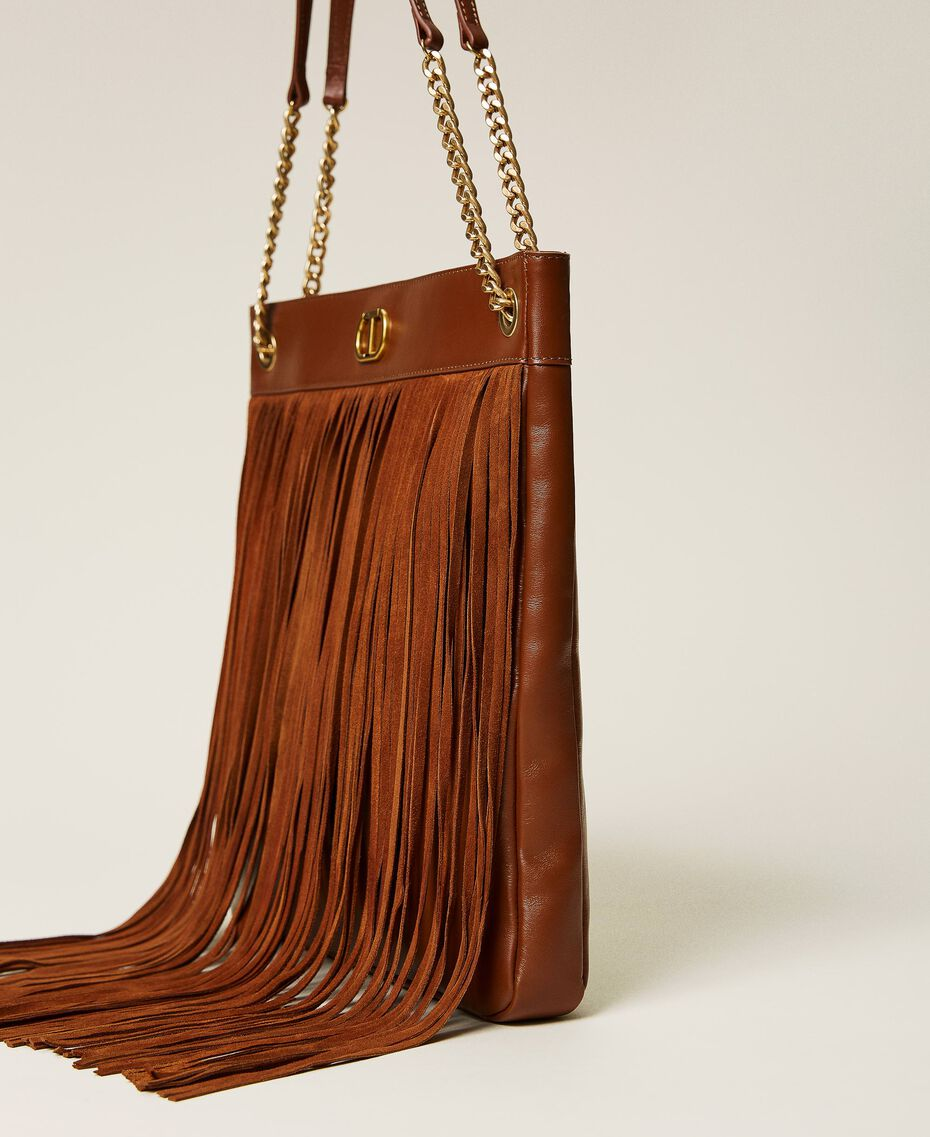 Leather bag with fringes Dark Hide Woman 212TD8010-02
