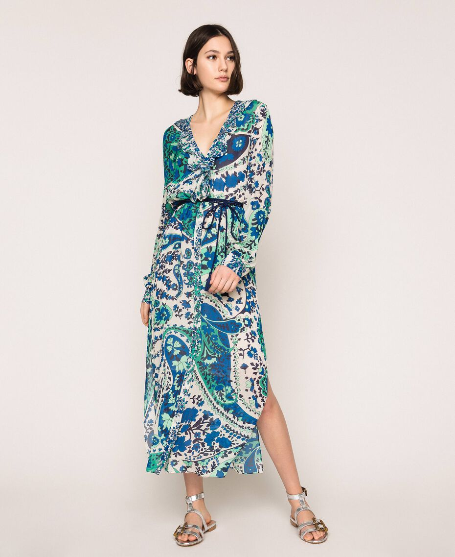 Длинное платье из жоржета с принтом пейсли Принт Кашемир Сапфир / Синий женщина 201TP2533-01