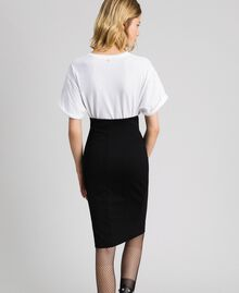 Mid-length skirt with lace Black Woman 192TP2095-03