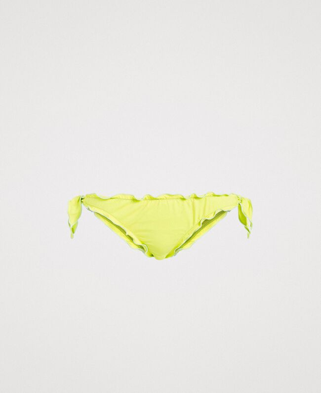 "Thong with little bows and ruffles ""Lemon Juice"" Yellow Woman 191LBMHQQ-01"
