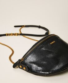 Animal print leather shoulder bag Black Python Print Woman 202TD8021-01