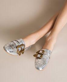 "Leather moccasins with crocodile print ""Titanium"" Grey Croc Print Woman 201TCP050-0S"