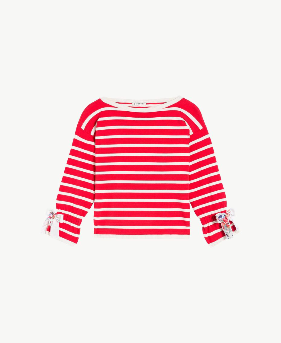 Striped maxi pullover Pomegranate Red / Chantilly Stripes / Flower Print Child GS83BA-01