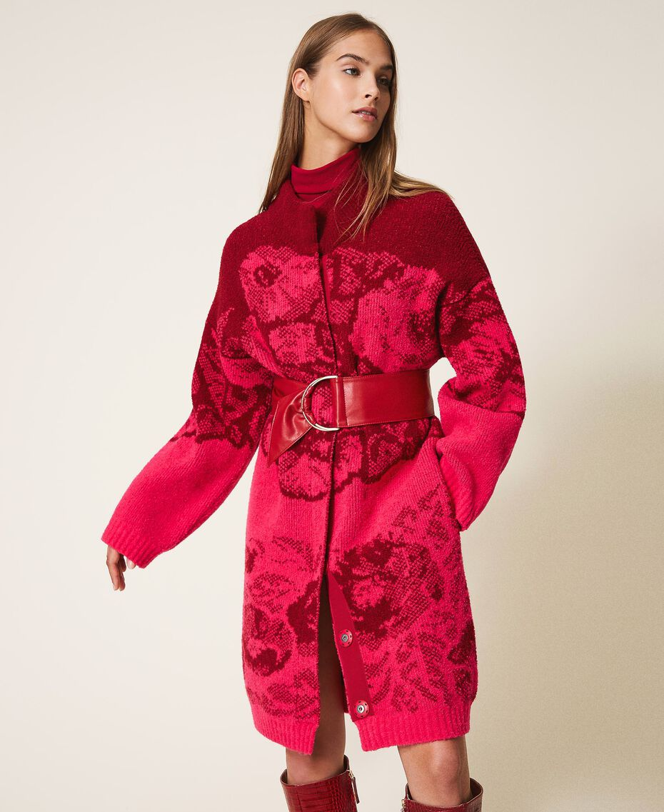 Floral jacquard knit coat Shocking Pink / Cherry Red Jacquard Woman 202TP340A-01