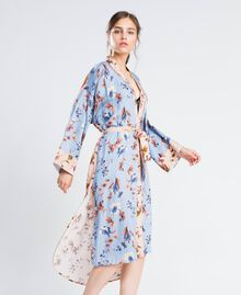 Long floral print dressing gown Pink Flower Mix Print Woman IA8EVV-02