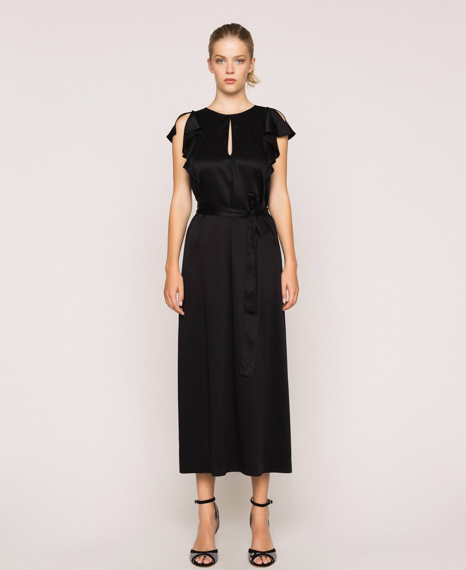Long dress with frilled sleeves Black Cherry Woman 201TP2284-02