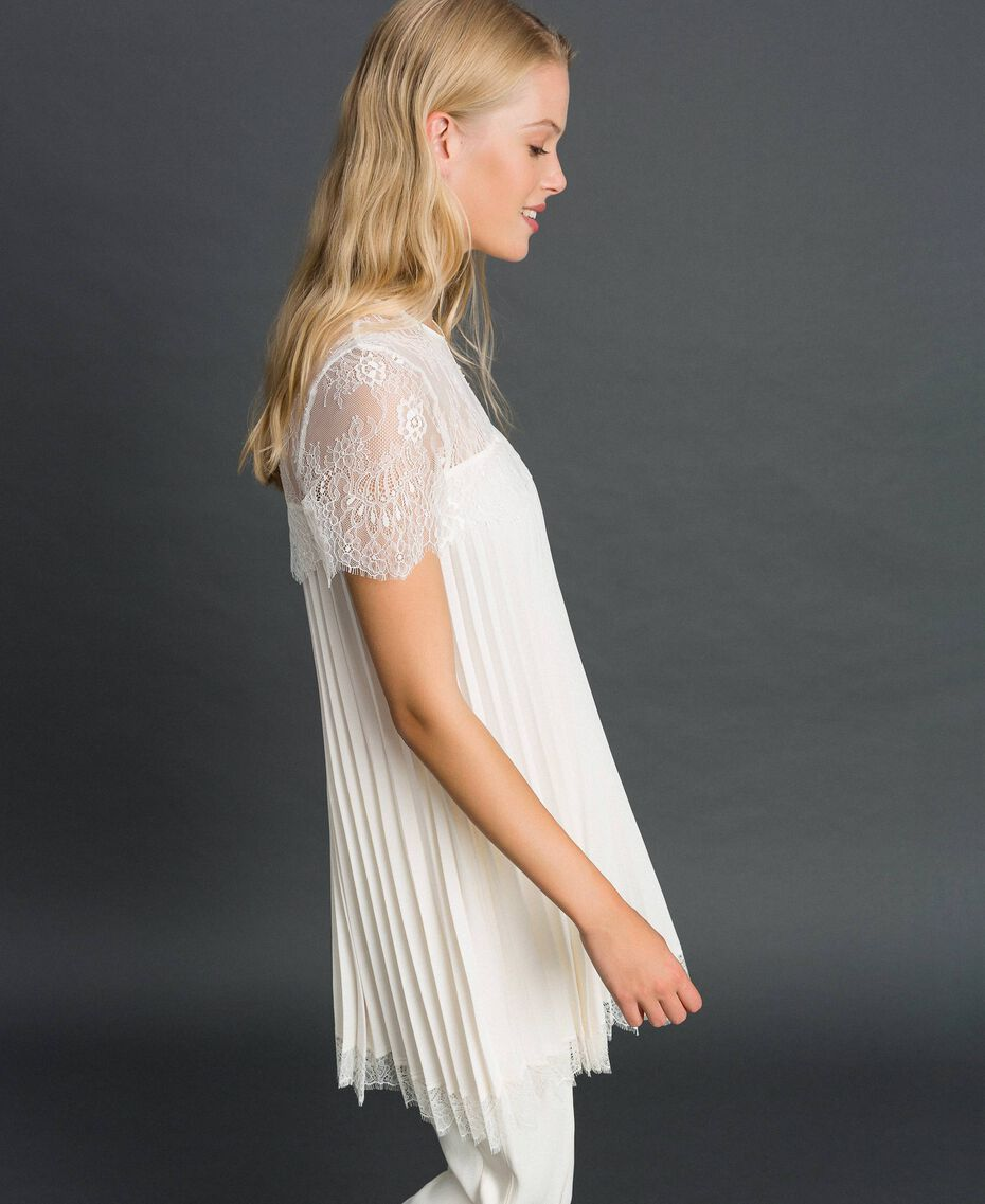 Blusa in crêpe de Chine plissé e pizzo Bianco Neve Donna 192TT2490-02