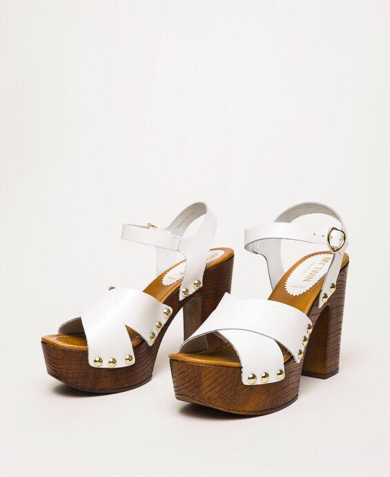 Leather clog sandals