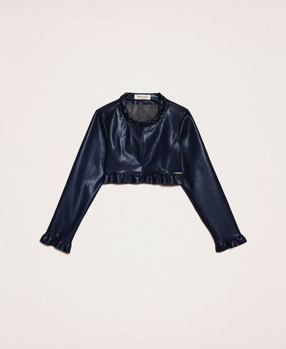 Faux leather jacket with ruffle