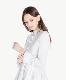 Kleid aus Popeline Weiß Frau TS821X-04