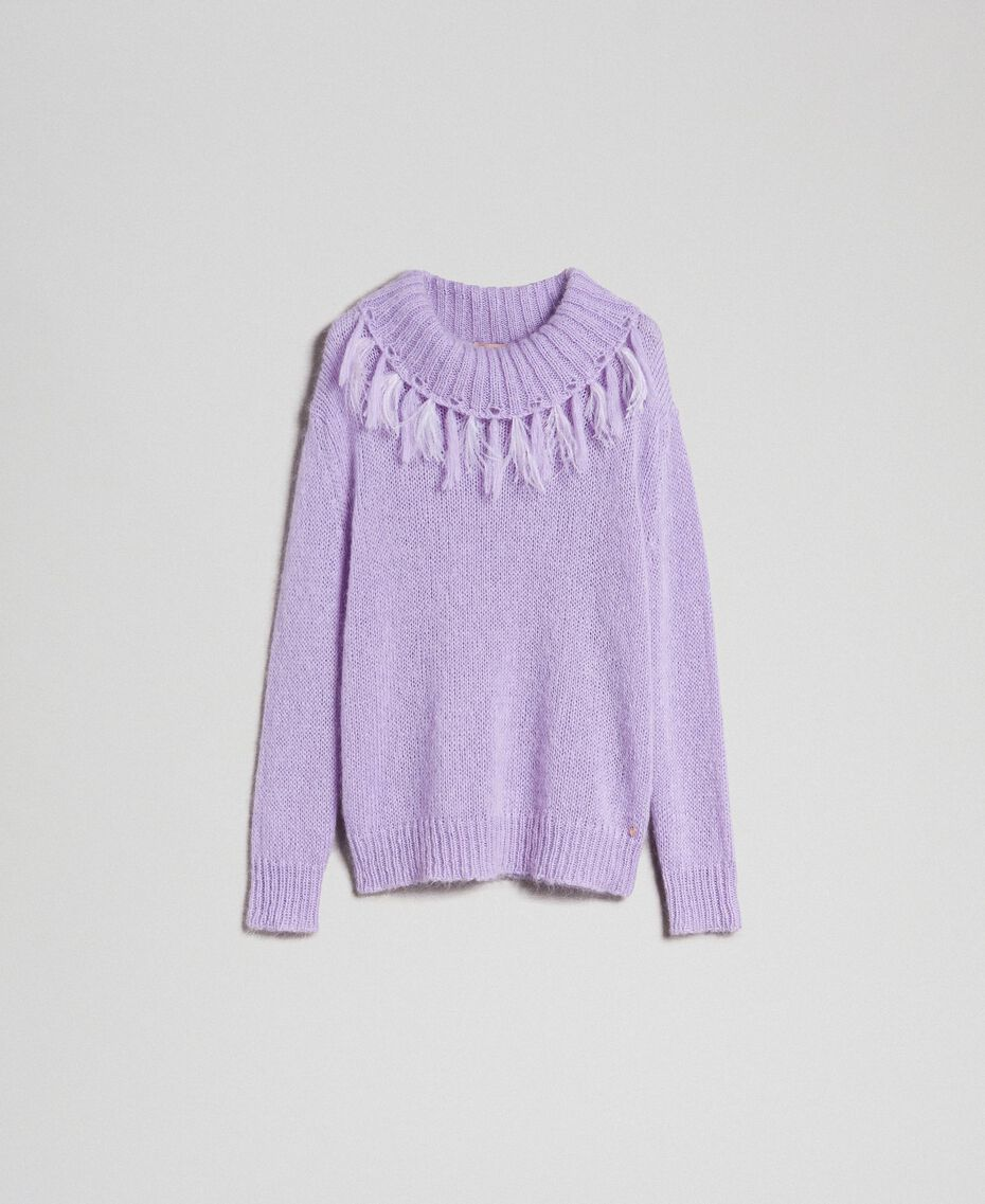 "Mohair jumper with feathers and fringes ""Pink Lavender"" Woman 192TT3276-0S"