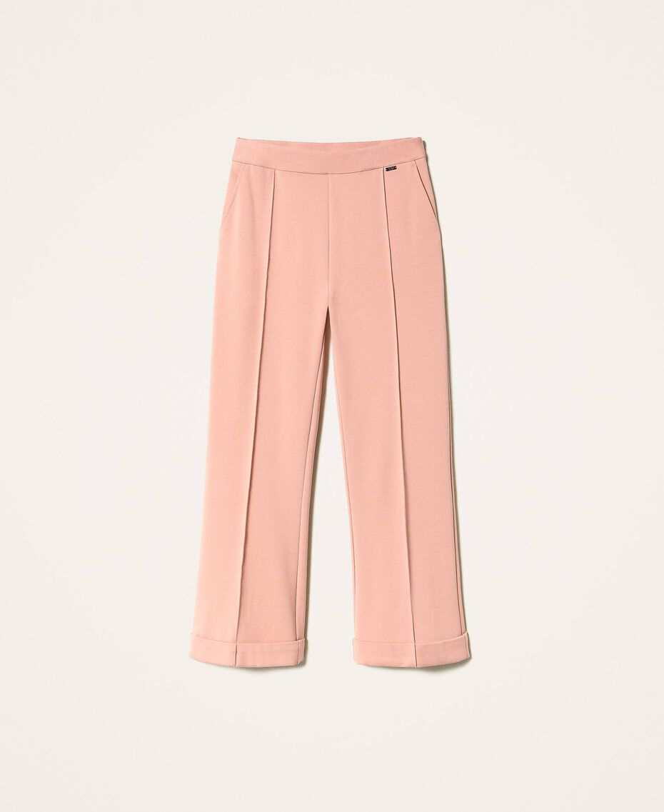 "Trousers with folded hem and stitching ""Vintage"" Pink Woman 202ST2023-0S"