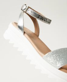 Laminated leather sandals with glitter Laminated Silver Grey Child 211GCJ100-02