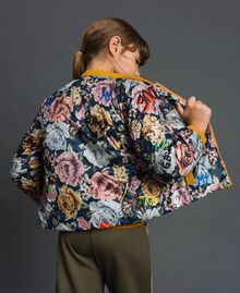 Reversible bomber-style puffer jacket Graffiti Print / Ochre Child 192GJ2120-03