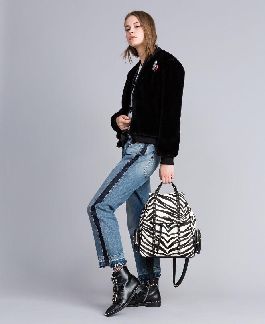 Jeans aus Denim mit Seitenstreifen Denimblau Frau JA82ZC-0T