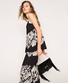 Leather shoulder bag with fringes Black Woman 201TO8142-0S