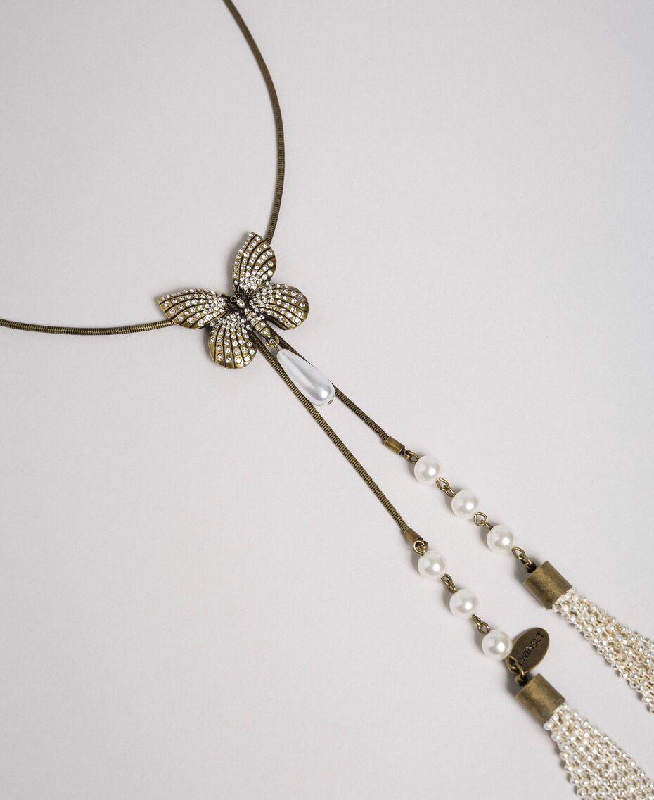 Halskette mit Schmetterling und Quasten Altmessing Frau 192TA4362-02