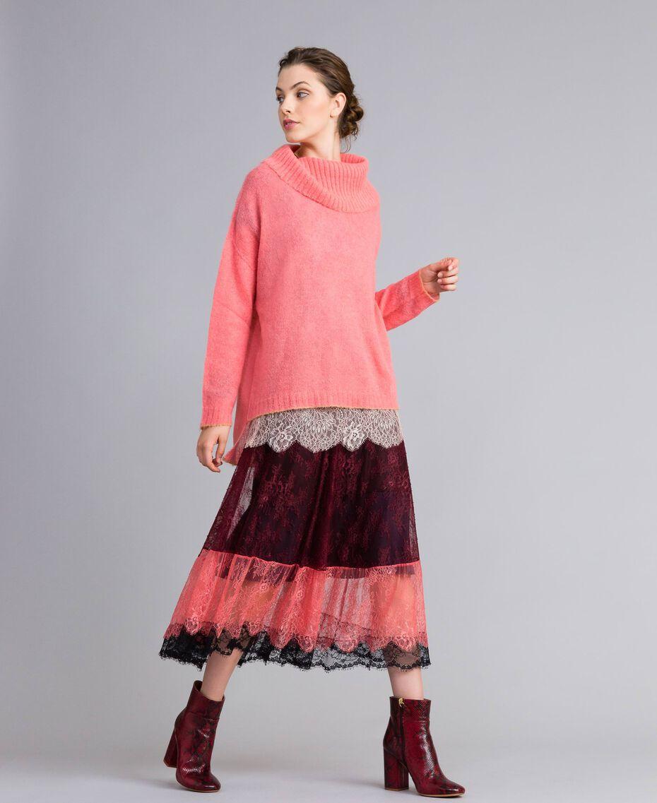Pull en mohair avec top en dentelle Rose Royal Pink Femme PA836F-0T