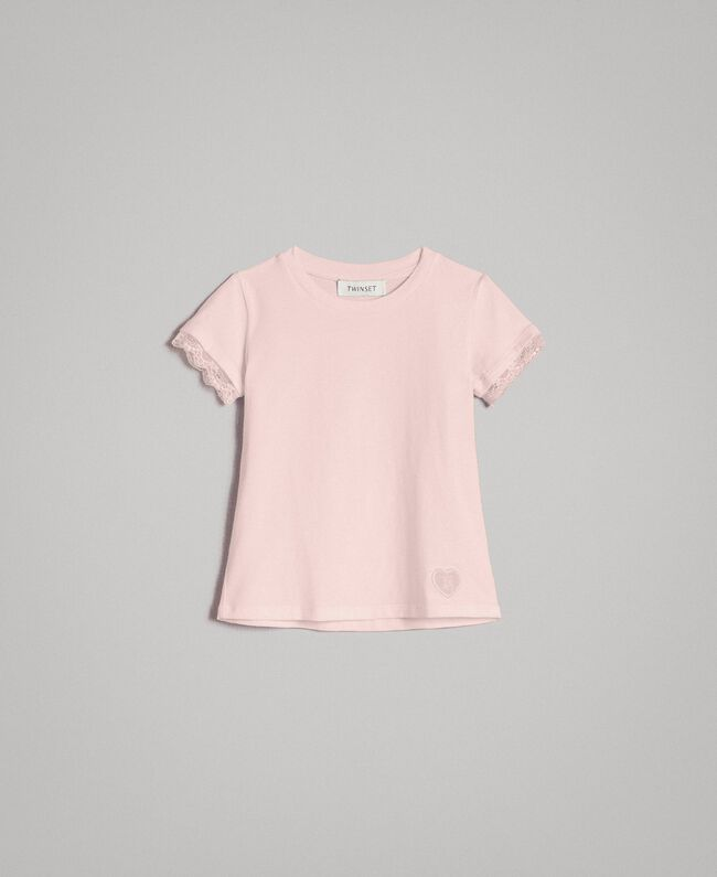 Jersey T-shirt with lace Blossom Pink Child 191GB2180-01