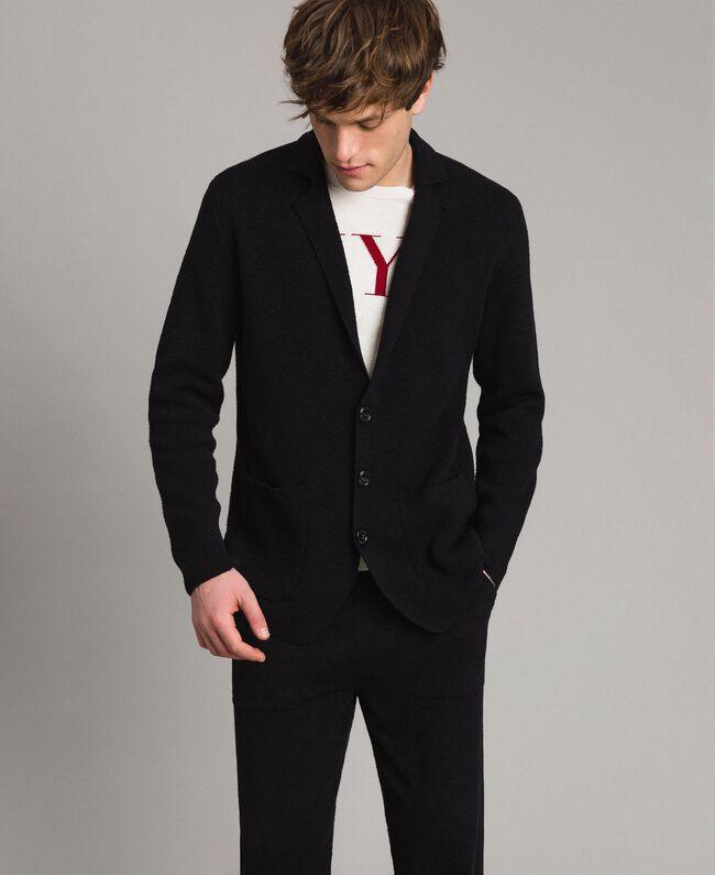 Cotton-blend knit jacket Black Man 191UT3090-01
