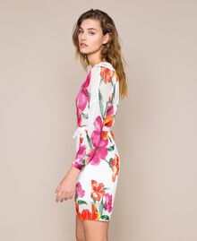 Vestido de punto rejilla estampado Estampado Hibiscus Nieve Mujer 201TT3190-02