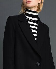 Langer Mantel aus Tuch Schwarz Frau 192TP2313-04