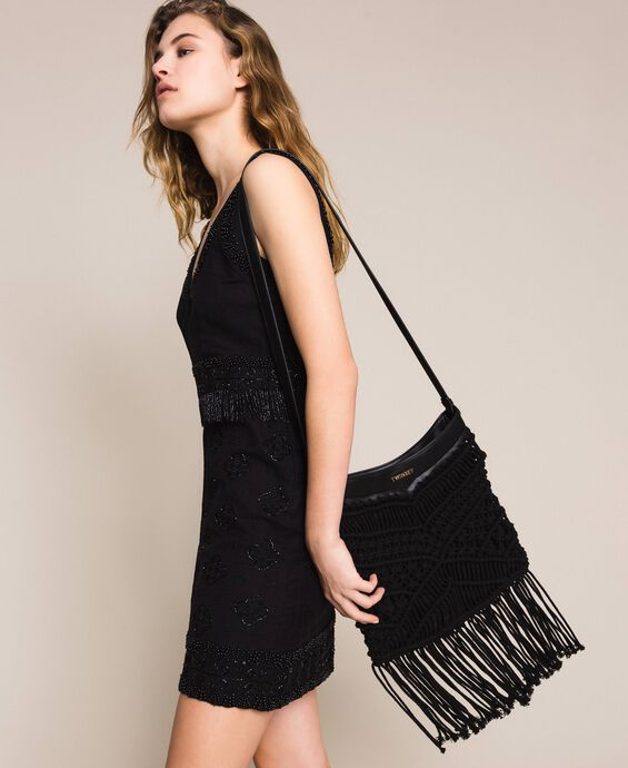 Crochet shoulder bag with fringes
