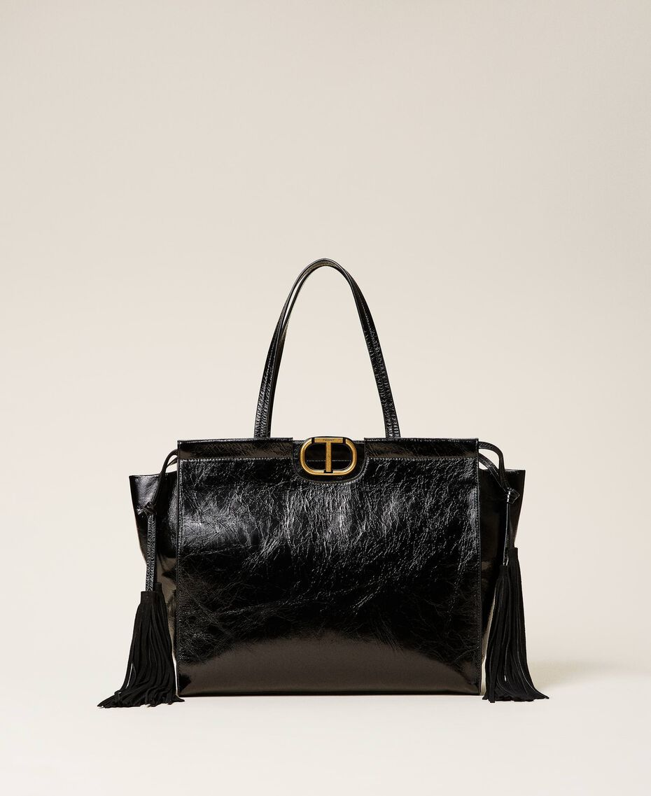 Leather shopper with fringes Black Woman 212TB7110-01