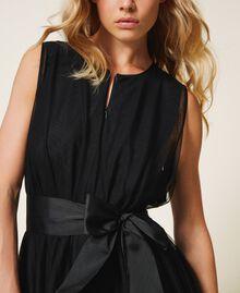 Tulle dress with satin belt Black Woman 202MP201C-04