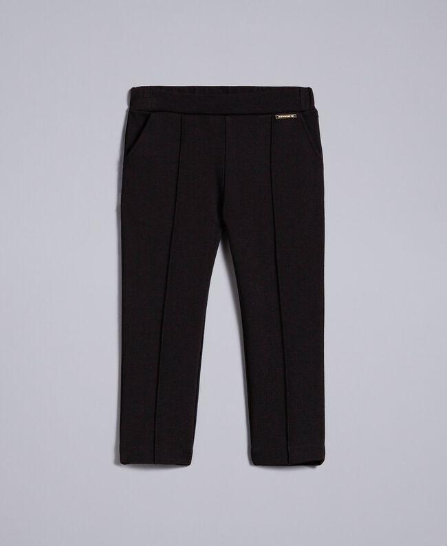Pantalon en point de Milan Noir Enfant FA82F1-01