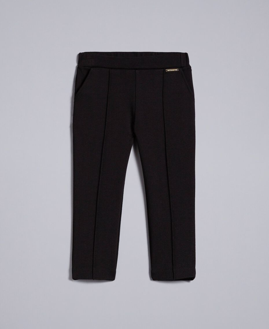 Pantalon en point de Milan Noir Enfant FA82F1-01