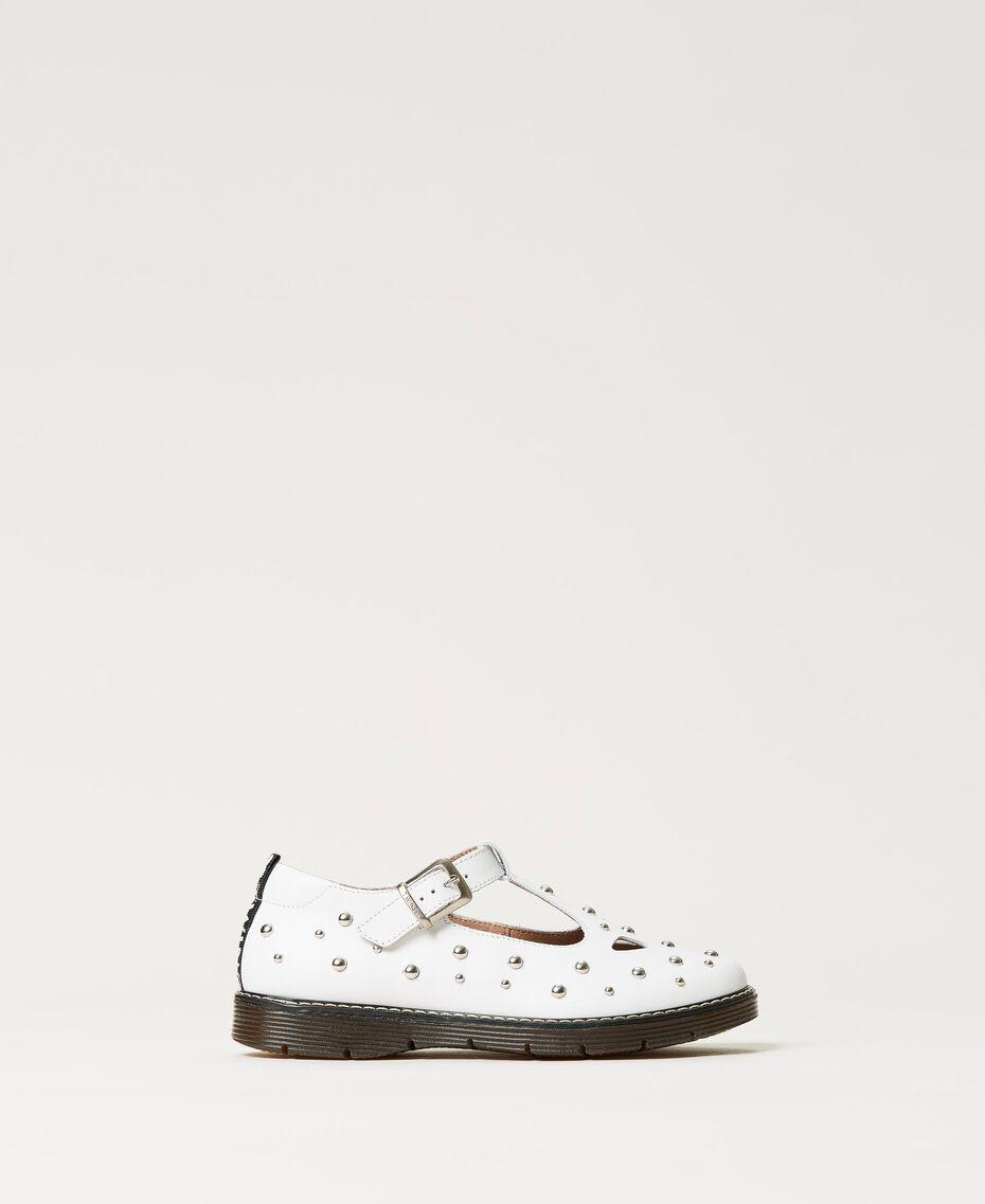 Studded leather ballerina shoes White Snow Child 211GCJ130-01
