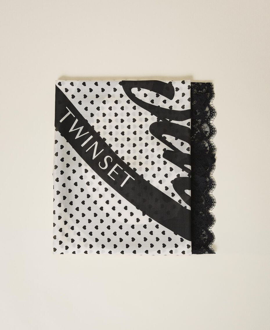 Keffieh avec imprimé cœurs et dentelle Imprimé Cœur Blanc Crème/ Noir Femme 202MA432H-01