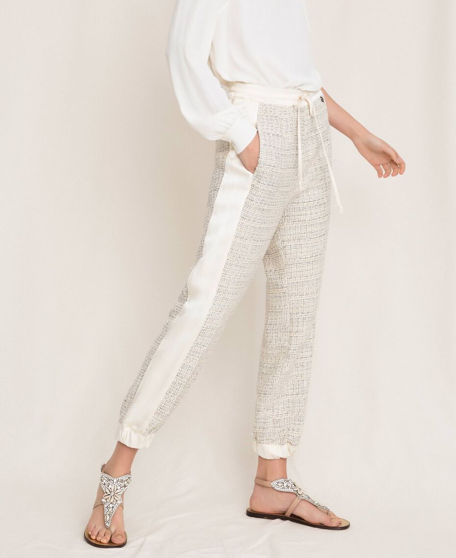 Bouclé fabric joggers Multicolour Ivory / Silver Grey Woman 201TP2231-02