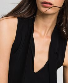 Georgette blouse with pussy bow Black Woman 192TP2383-04