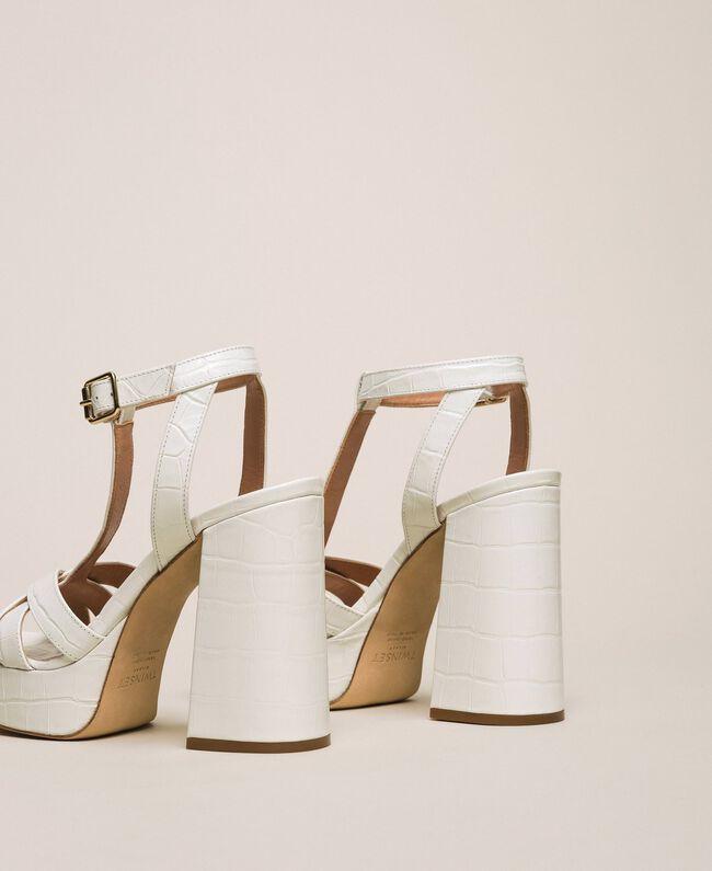 "Leather T-bar sandals ""Snow"" White Crocodile Print Woman 201TCP072-04"