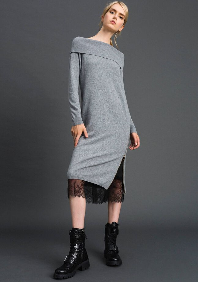 Cashmere blend dress and slip with lace