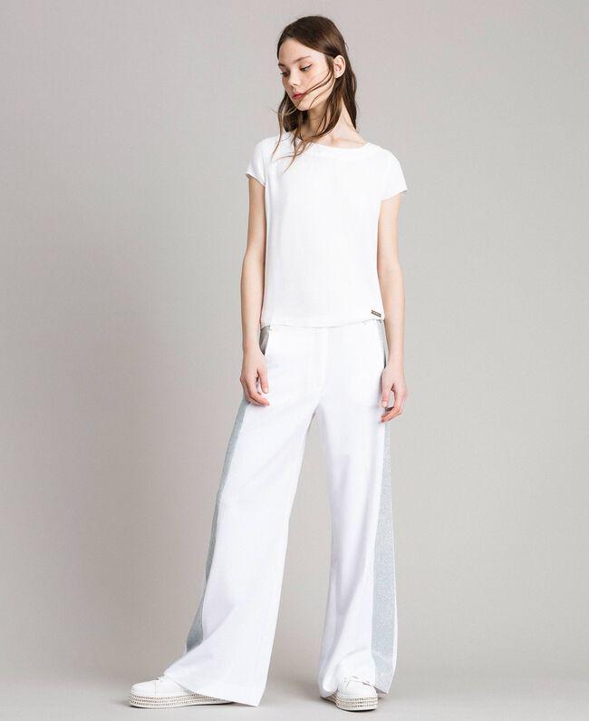 Pantaloni palazzo con bande lurex Bianco Donna 191LL25BB-03