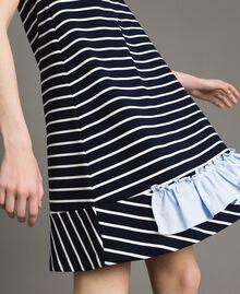 Robe rayée avec volant contrasté Rayures Ombre Bleue / Blanc Cassé Femme 191ST2033-04