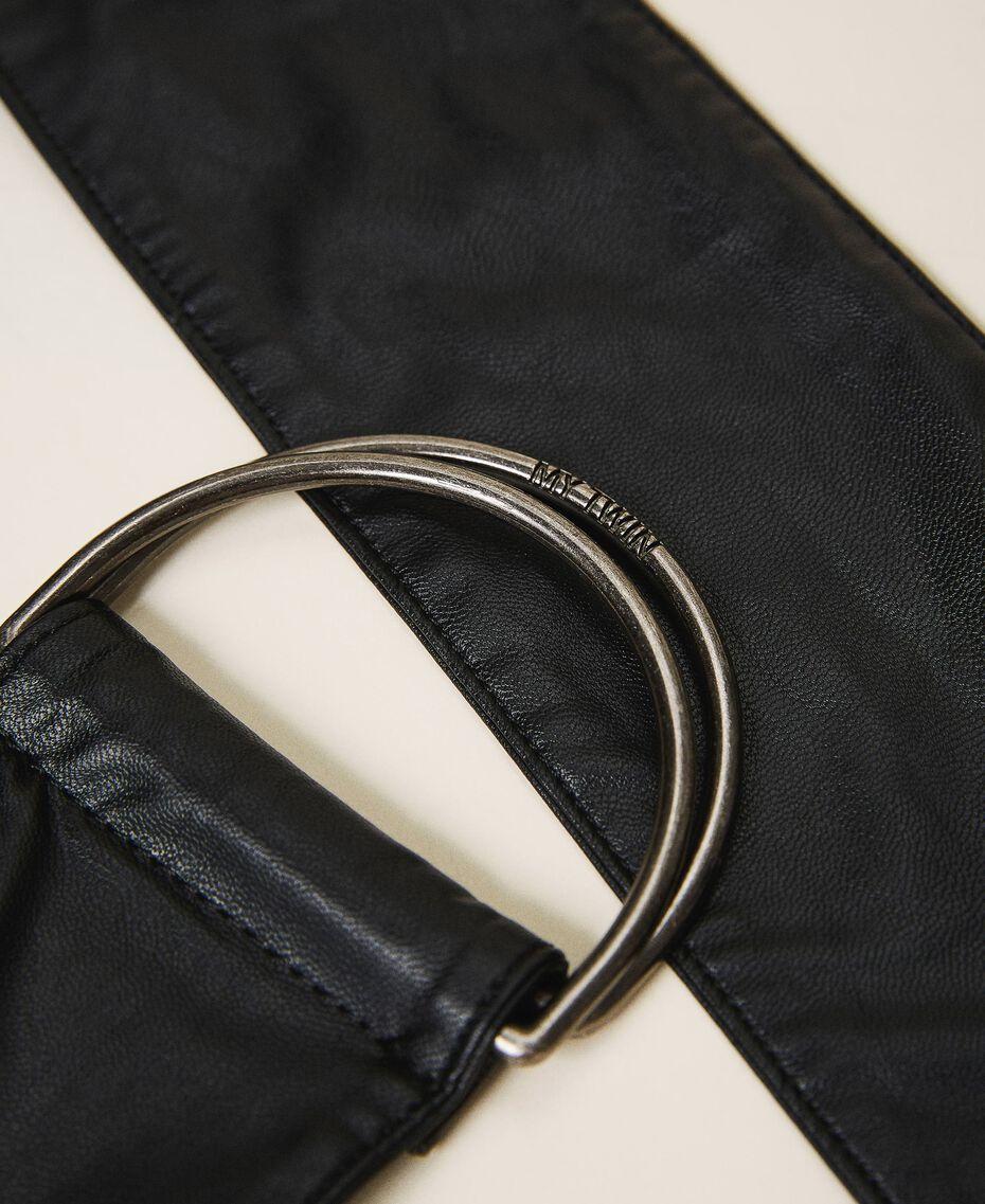 Faux leather sash belt Black Woman 202MA4352-02