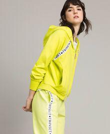 "Fleece jacket with inserts and logo ""Lemon Juice"" Yellow Woman 191LL28CC-01"