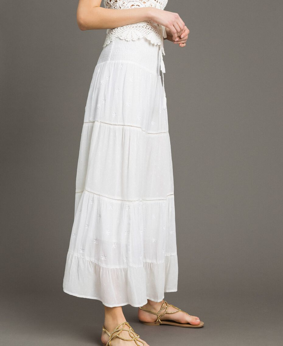 Skirt-dress with broderie anglaise White Woman 191LB2EDD-02